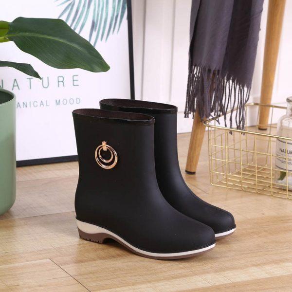 Elegant Short Women Rubber Boots Ankle Rain Boots Fall Autumn Rain Day Waterproof Woman Shoes