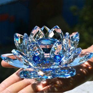 Crystal Lotus Flower Glass Fengshui Paperweight