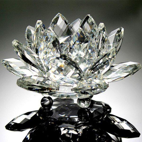 Crystal Lotus Flower Glass Fengshui Paperweight