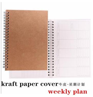 Agendas 2020 2021 Planner A5 Kraft Spiral Notebooks Diary Weekly Monthly Plan Organizer Schedule Office Supplies Stationery